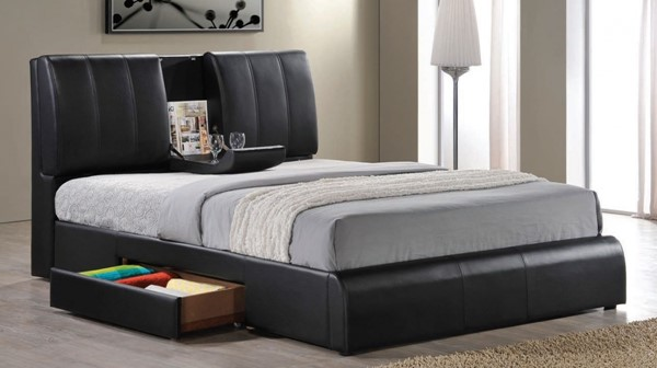 Kofi Contemporary Black PU Wood King Bed w/Storage ACM-21266EK