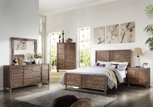 Andria Modern Reclaimed Oak Acacia Wood 2pc Bedroom Sets ACM-2129-BR-S