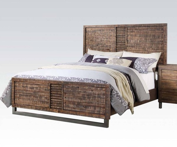 Andria Modern Reclaimed Oak Acacia Wood Cal King Bed ACM-21284CK
