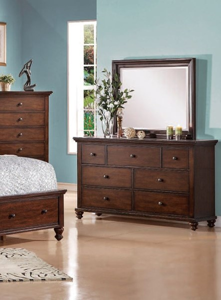 Aceline Coastal Brown Cherry Wood Glass Dresser And Mirror ACM-21385-86