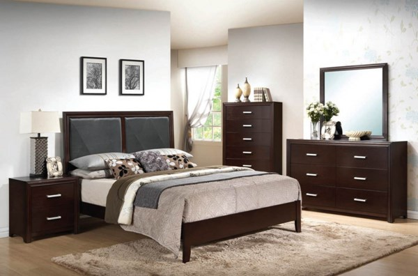 Ajay Contemporary Black Espresso PU Wood 2pc Bedroom Set W/King Bed ACM-21414-S2