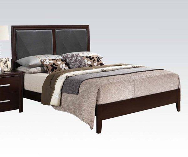 Ajay Contemporary Black Espresso PU Wood Beds ACM-21414-Bed-VAR