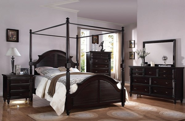 Charisma Dark Espresso Wood 2pc Bedroom Sets W/Canopy Beds ACM-21572-BRS-VAR2