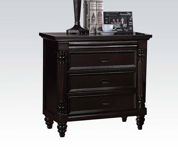 Charisma Dark Espresso Wood Nightstand w/Charging Dock & LED Light ACM-21584