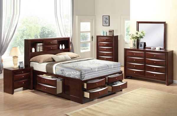 Ireland Transitional Espresso Wood 2pc Bedroom Set W/King Storage Bed ACM-21444-S4