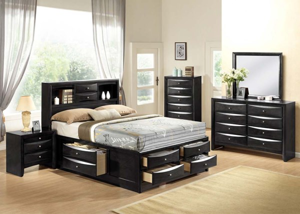 Ireland Transitional Black Wood 2pc Bedroom Set W/Full Storage Bed ACM-21606-S3
