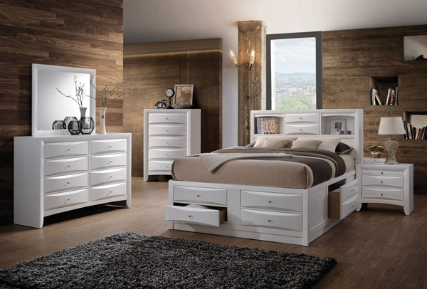 Ireland Transitional White Wood 2pc Bedroom Set W/King Storage Bed ACM-217-BR-S1
