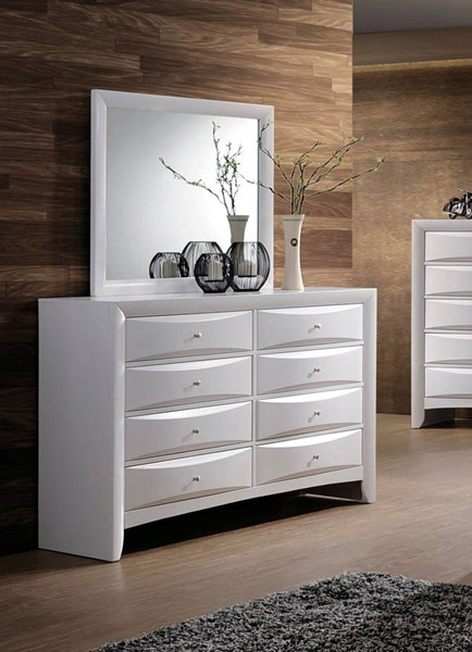 Ireland Transitional White Wood Glass Dresser And Mirror ACM-217-DRMR