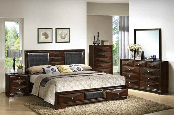 Windsor Contemporary Merlot Wood 2pc Bedroom Sets ACM-21920Q-S1-VAR