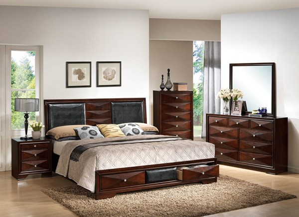 Windsor Contemporary Merlot Wood 2pc Bedroom Set W/Queen Storage Bed ACM-21910Q-S1