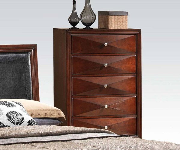 Windsor Contemporary Merlot Wood 5 Drawers Chest ACM-21926