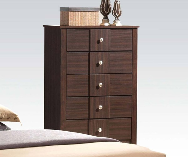 Racie Transitional Merlot Wood 5 Drawers Chest ACM-21946