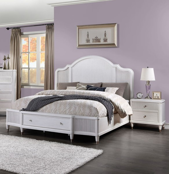 Acme Furniture Celestia Off White 2pc Bedroom Set with King Storage Bed ACM-22110-BR-S2