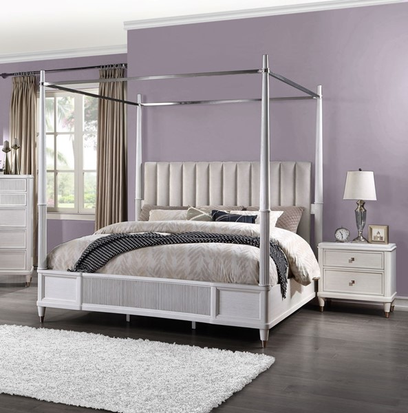 Acme Furniture Celestia Off White 2pc Bedroom Set with King Canopy Bed ACM-22110-BR-S4