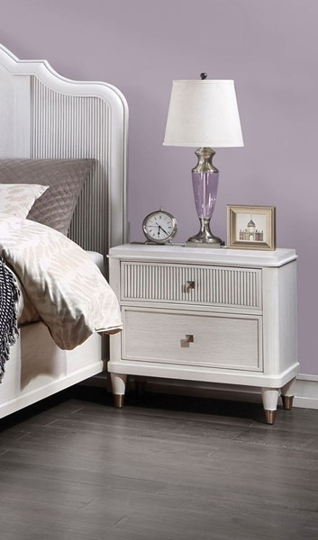 Acme Furniture Celestia Off White Reeded Top Drawer Nightstand ACM-22127