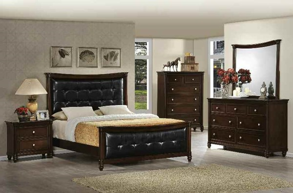 Amaryllis Traditional Black Cherry PU Wood 2pc Bedroom Sets ACM-223-BRS