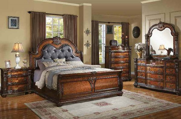 Nathaneal Traditional Black Tobacco PU Wood 2pc Bedroom Sets ACM-22304-BED-VAR