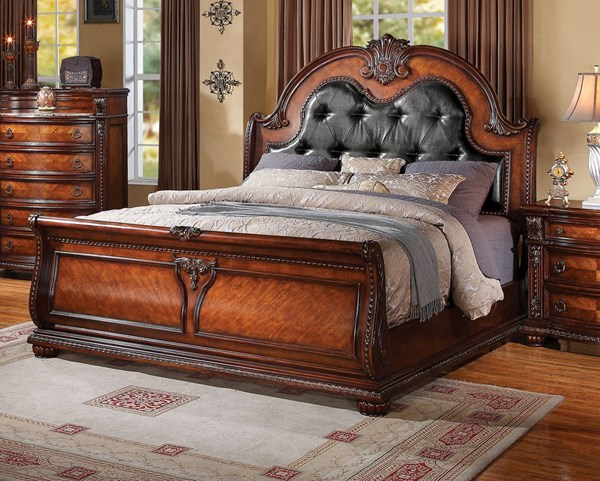 Nathaneal Traditional Black Tobacco PU Wood King Bed ACM-22307EK