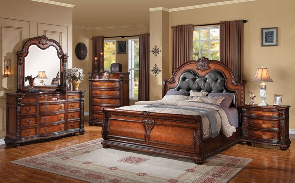 Nathaneal Traditional Tobacco PU Wood 2pc Bedroom Set W/Queen Bed ACM-22310Q-S1