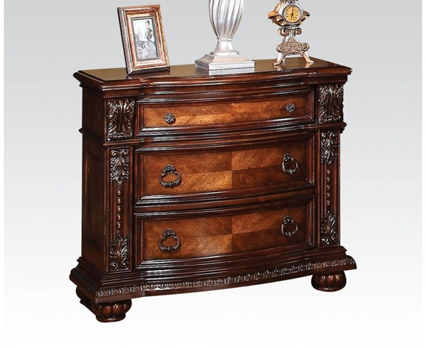 Nathaneal Traditional Tobacco Wood 3 Drawers Nightstand ACM-22313