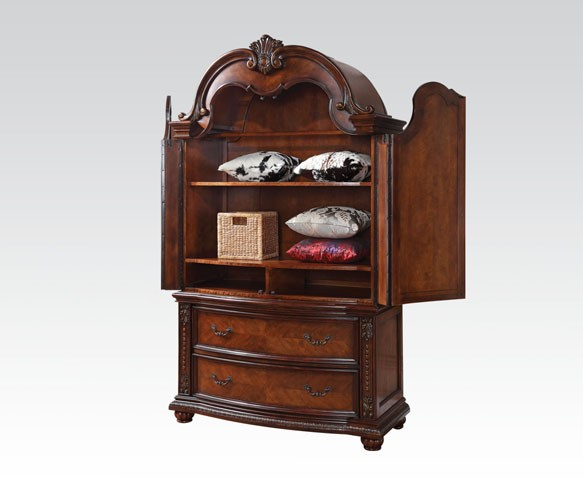 Nathaneal Traditional Tobacco Wood TV Armoire ACM-22317