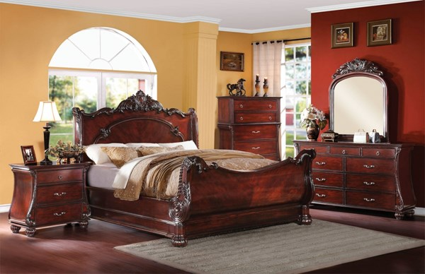 Abramson Traditional Cherry Wood 2pc Bedroom Set W/Queen Bed ACM-22360Q-S1
