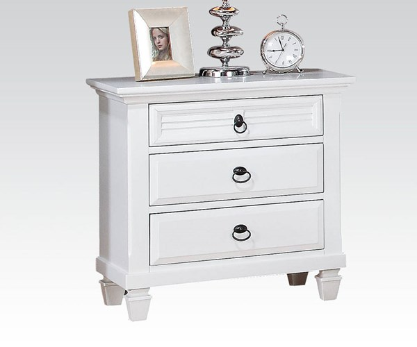 Merivale Cottage White Wood 3 Drawers Nightstand ACM-22423