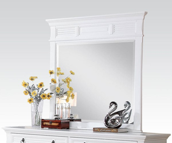 Merivale Cottage White Wood Glass Mirror ACM-22424