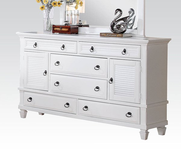 Merivale Cottage White Wood 6 Drawers Dresser ACM-22425