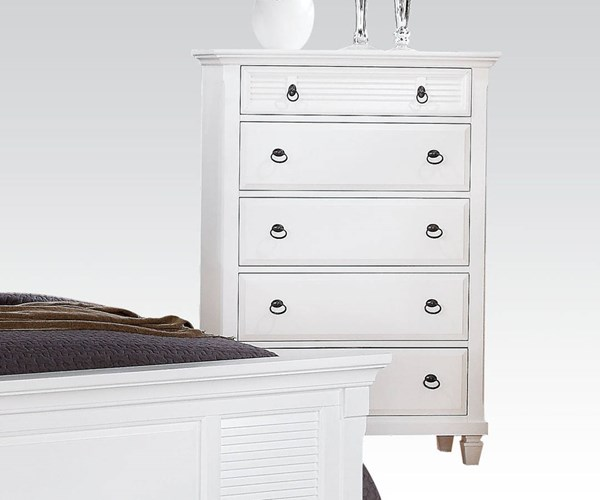 Merivale Cottage White Wood 5 Drawers Chest ACM-22426