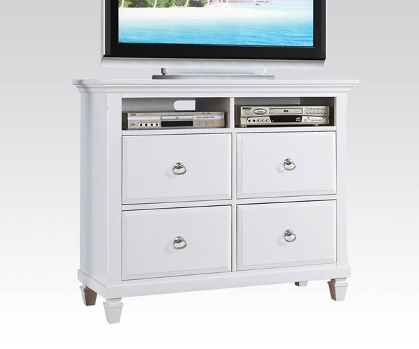Merivale Cottage White Wood 4 Drawers TV Console ACM-22427