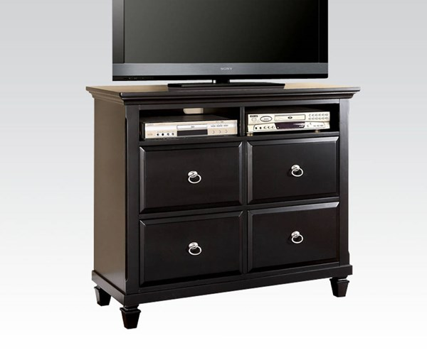 Merivale Cottage Black Wood 4 Drawers TV Console ACM-22447