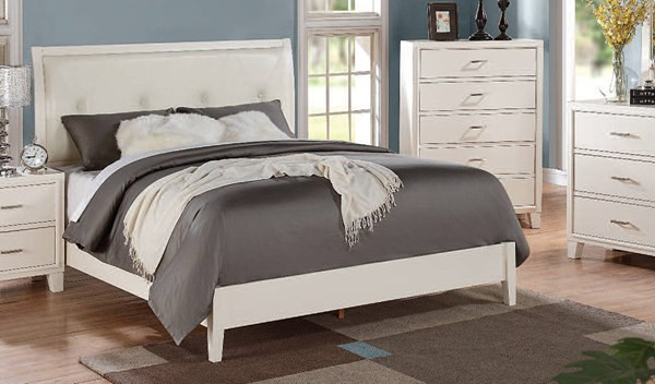 Tyler Contemporary Cream White PU Wood Twin Bed ACM-22555T