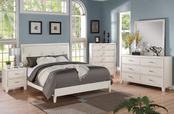 Tyler Contemporary Cream White PU Wood 2pc Bedroom Set W/Twin Bed ACM-22534-BR-S5