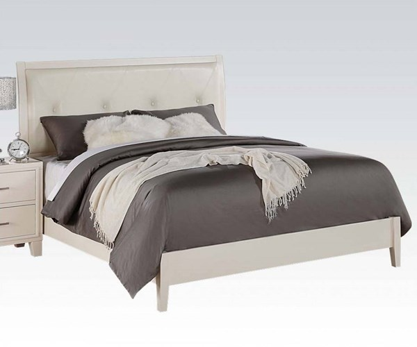 Tyler Contemporary Cream White PU Wood King Bed ACM-22537EK