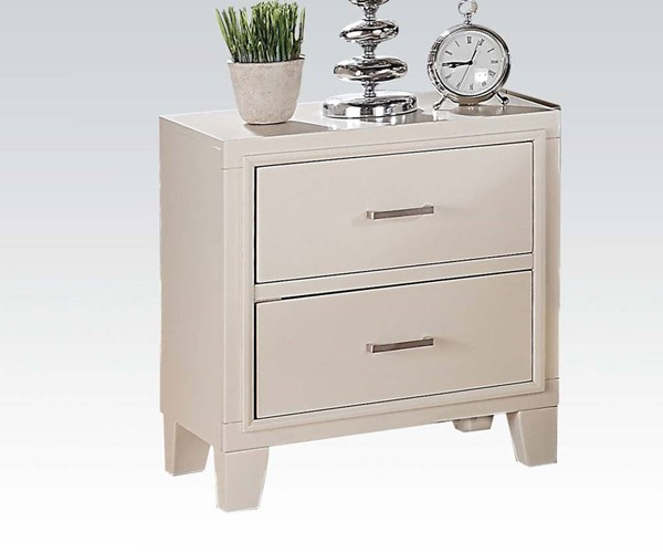 Tyler Contemporary White Wood 2 Drawers Nightstand ACM-22543