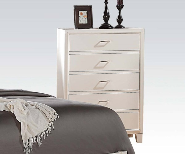 Tyler Contemporary White Wood 5 Drawers Chest ACM-22546