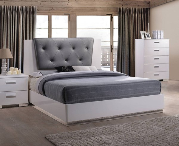 Lorimar II Contemporary White MDF Gray PU Beds ACM-226-BEDS
