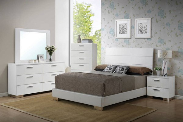 Lorimar Modern White Chrome 2pc Bedroom Set W/King Bed ACM-2263-BR-S2