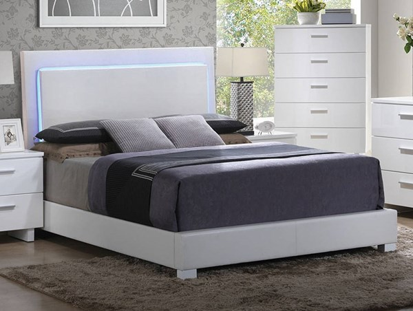 Lorimar Contemporary White PU Wood Beds W/LED Headboard ACM-22637-BEDS-VAR