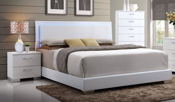 Acme Furniture Lorimar White Led Headboard Queen Bed The