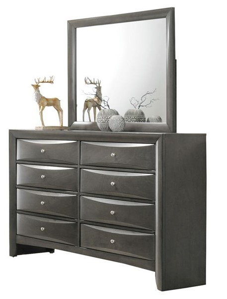 Acme Furniture Ireland Gray Oak Dresser and Mirror ACM-22706-22705