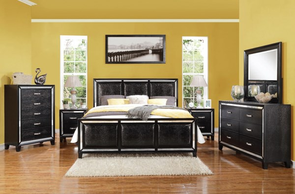Elberte Contemporary Black PU Wood 2pc Bedroom Set W/King Bed ACM-22784-BR-S2