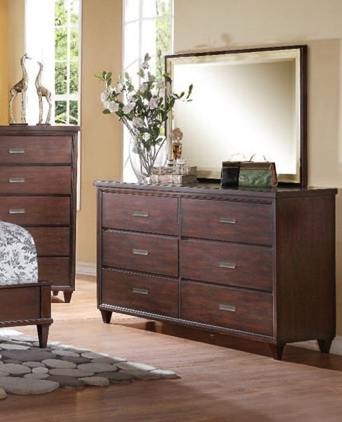 Raleigh Cherry Wood Glass Dresser And Mirror ACM-22824-25-DRMR