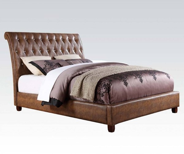 Pitney Brown PU Wood Queen Platform Bed w/Button Tufted Headboard ACM-22850Q