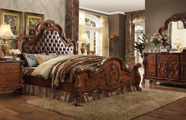 Dresden Cherry Oak Wood 2pc Bedroom Set W/Queen Bed ACM-23134-BR-S3