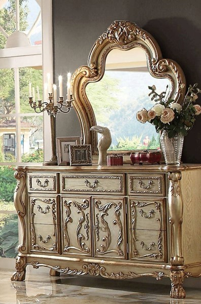 Acme Furniture Dresden Gold Patina Dresser and Mirror ACM-23164-65-DRMR