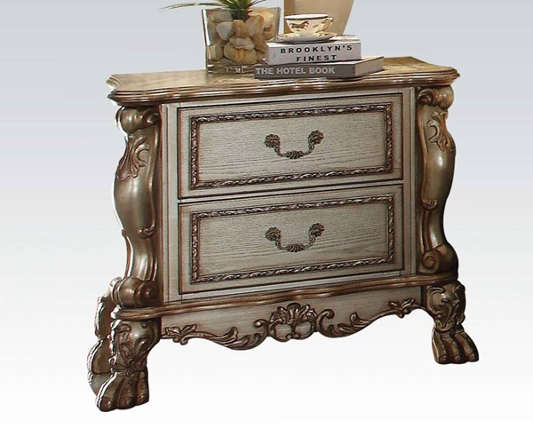 Dresden Classic Gold Patina Wood Nightstand ACM-23163