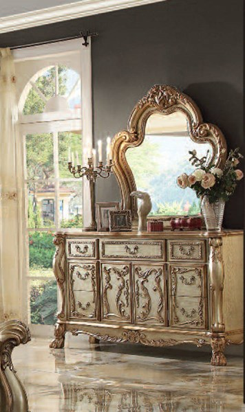 Dresden Classic Gold Patina Wood Glass Dresser And Mirror ACM-23164-65-DRMR