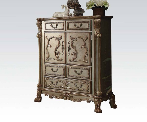 Dresden Classic Gold Patina Wood 5 Drawers Chest ACM-23166